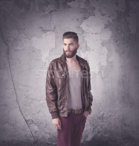 Jóképű hipszter divat ruházat vicces klasszikus Stock fotó © ra2studio