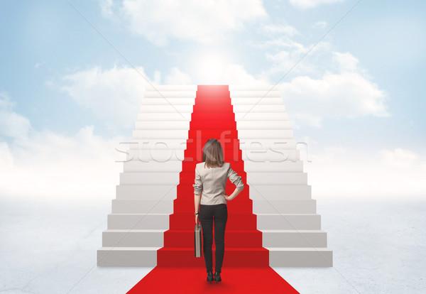 глядя лестницы небо деловая женщина бизнеса девушки Сток-фото © ra2studio