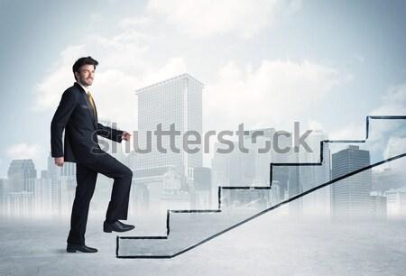 Energiczny człowiek biznesu skoki most luka człowiek Zdjęcia stock © ra2studio