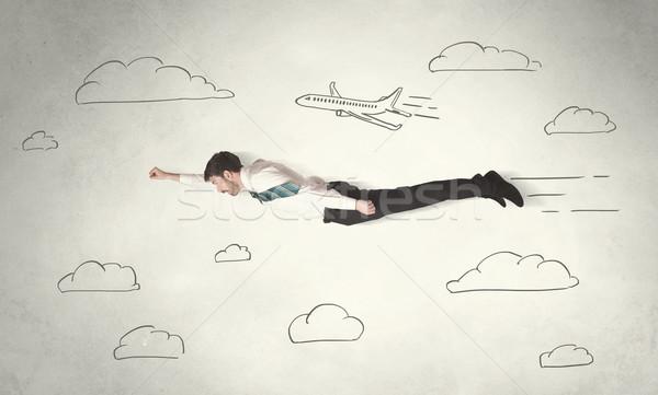 事業者 飛行 手描き 空 雲 ストックフォト © ra2studio