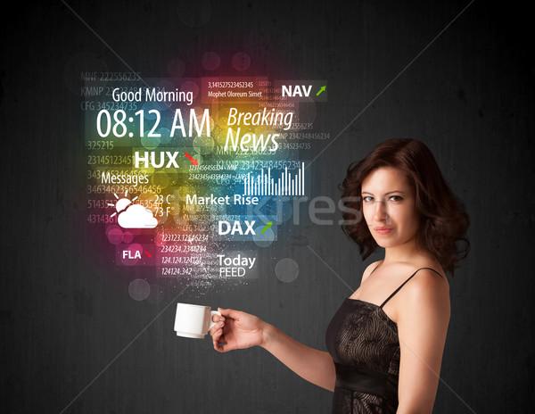 Empresária branco copo diariamente notícia Foto stock © ra2studio