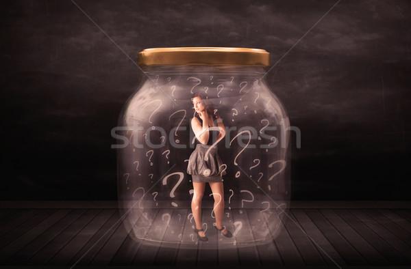 Empresária trancado jarra pontos de interrogação vidro triste Foto stock © ra2studio