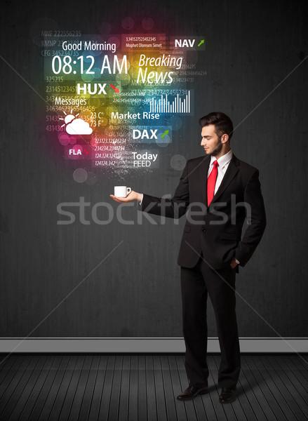 Affaires blanche tasse tous les jours nouvelles Photo stock © ra2studio