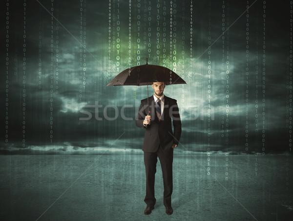 ビジネスマン 立って 傘 データ保護 ビジネス セキュリティ ストックフォト © ra2studio