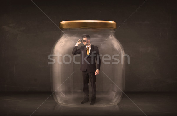 Biznesmen zamknięty szkła jar pracy chłopca Zdjęcia stock © ra2studio