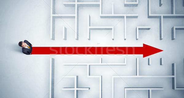 üzletember néz labirintus piros nyíl mutat Stock fotó © ra2studio