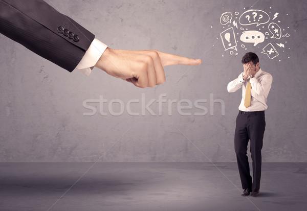 Főnök kéz mutat zavart alkalmazott fiatal Stock fotó © ra2studio