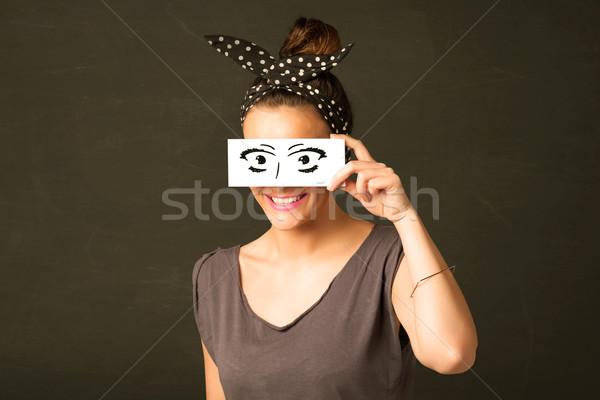 愚かな 見える 手描き 眼 紙 ストックフォト © ra2studio