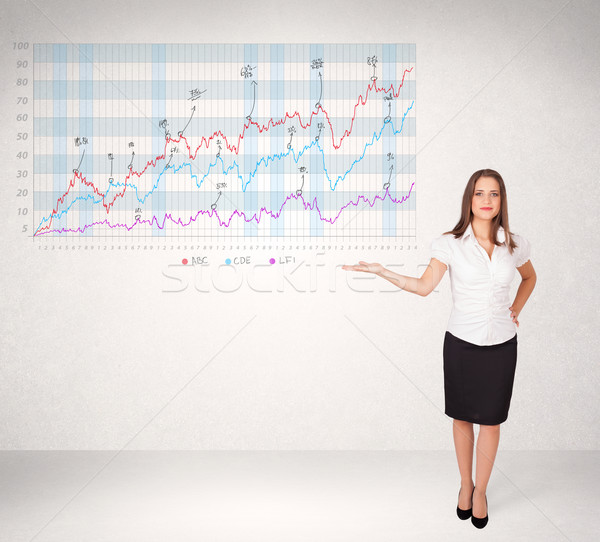 Giovani donna d'affari mercato azionario diagramma analisi Foto d'archivio © ra2studio