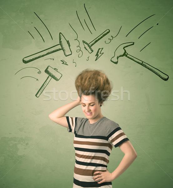 Fáradt nő hajstílus fejfájás kalapács szimbólumok Stock fotó © ra2studio