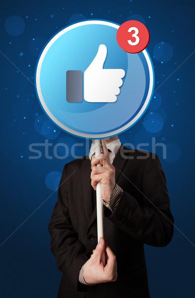 бизнесмен facebook знак Smart подобно Сток-фото © ra2studio