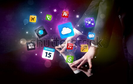 рук прикасаться интерактивный таблице мужчины красочный Сток-фото © ra2studio