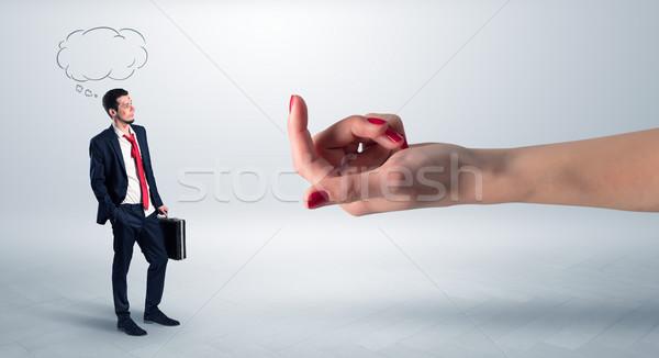 Işadamı el karalama kadın sevmek kırmızı Stok fotoğraf © ra2studio