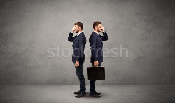Stock fotó: üzletember · kettő · lehetőségek · fiatal · választ · irányok