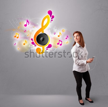 Csinos lány énekel zenét hallgat hangjegyek ki Stock fotó © ra2studio