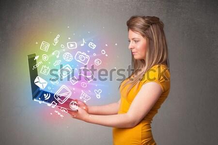 Schönen halten Notebook farbenreich Hand gezeichnet Stock foto © ra2studio