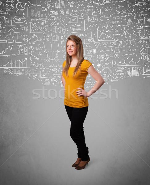 小さな かなり 女性 手描き アイコン 白 ストックフォト © ra2studio