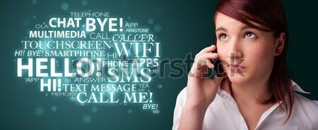 Jonge vrouw telefoongesprek exemplaar ruimte permanente hand Stockfoto © ra2studio