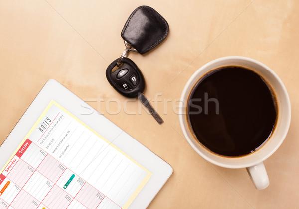ストックフォト: 職場 · カレンダー · カップ · コーヒー
