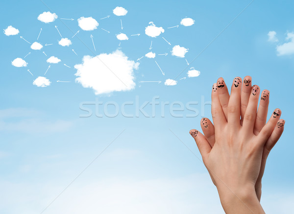 Photo stock: Doigt · réseau · cloud · visages · main · sourire