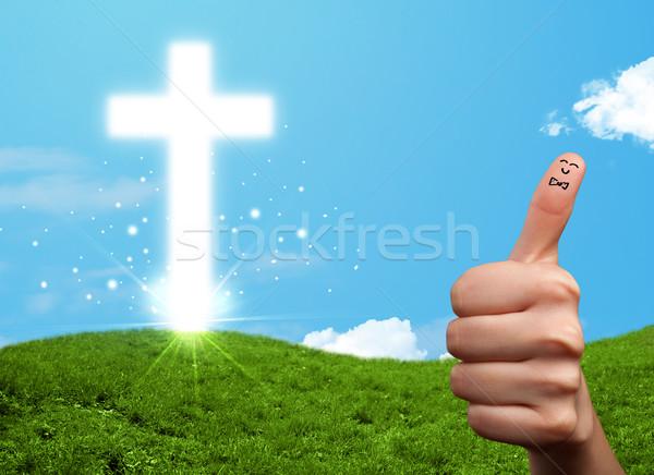 Boldog ujj emotikonok keresztény vallás kereszt Stock fotó © ra2studio