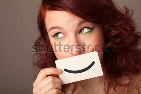 Stok fotoğraf: Mutlu · sevimli · kız · kâğıt · bıyık