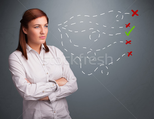 Mulher jovem escolher direito errado sinais belo Foto stock © ra2studio