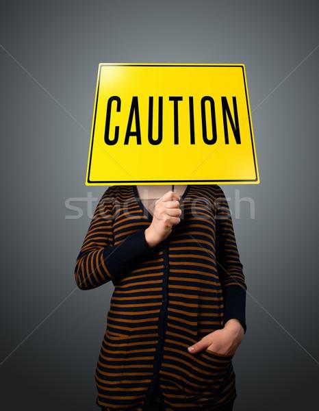 Halten Vorsicht Zeichen jungen Dame Stock foto © ra2studio