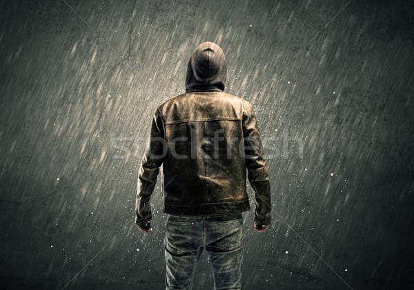 Ijesztő fickó áll veszélyes felismerhetetlen bűnöző Stock fotó © ra2studio