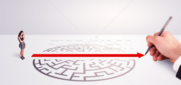 businessman standing near the entrance of labyrinth Stock photo © ra2studio