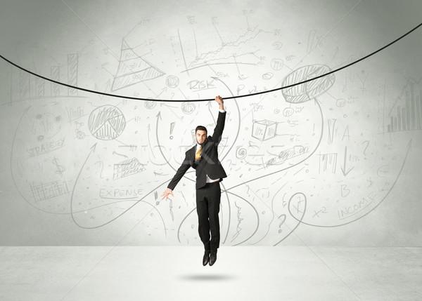 Akasztás üzletember kötél elemzés grafikonok kéz Stock fotó © ra2studio