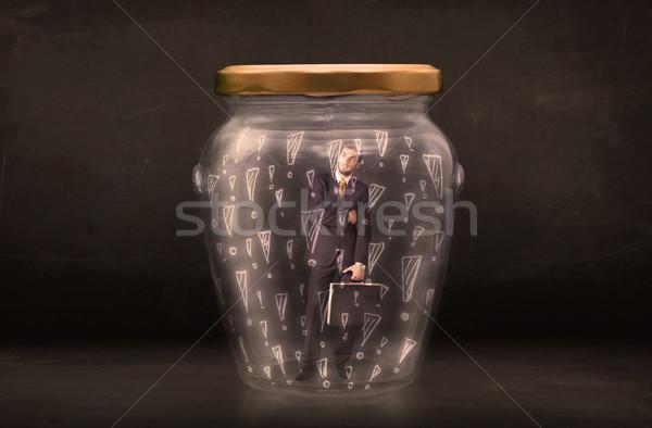 Człowiek biznesu uwięzione jar szkła smutne teen Zdjęcia stock © ra2studio