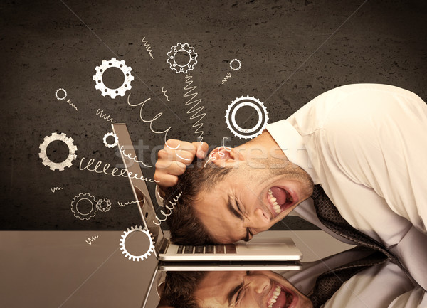 Gear wheels jumping from depressed head Stock photo © ra2studio