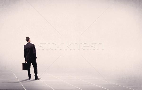 üzletember áll üres hely irodai dolgozó aktatáska hát Stock fotó © ra2studio