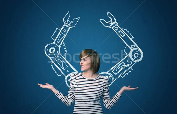 Robotikus karok csinos fiatal nő nő technológia Stock fotó © ra2studio