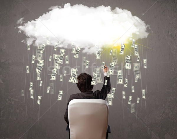 Business man in suit looking at cloud with falling money Stock photo © ra2studio