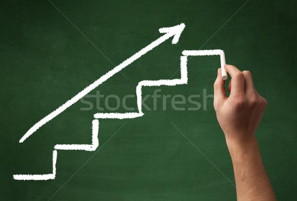 El çizim adımlar tahta merdiven ok Stok fotoğraf © ra2studio