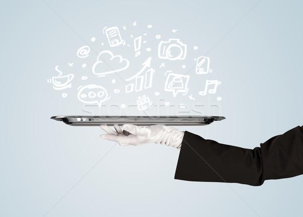 De ober dienblad media iconen professionele Stockfoto © ra2studio