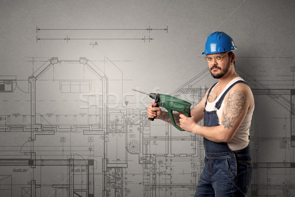 Travailleur techniques dessin permanent outil main Photo stock © ra2studio