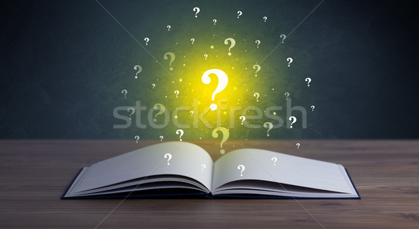книга желтый открытой книгой вопросе Сток-фото © ra2studio