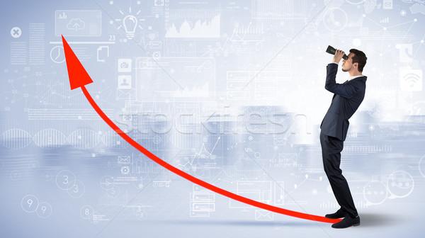 Man looking forward to increase graph concept Stock photo © ra2studio