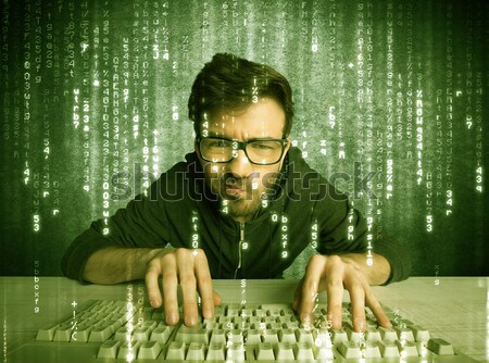 Armed hacker in cyber security cloud concept Stock photo © ra2studio