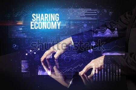 Stockfoto: Hand · muis · financiële · draadloze · donkere · computer