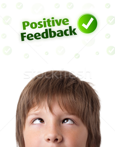 Jeunes tête regarder positif négatifs signes Photo stock © ra2studio
