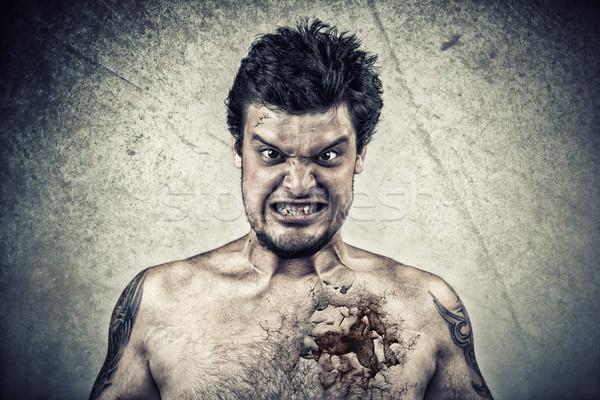Sinistro faccia screpolato pelle brutto business Foto d'archivio © ra2studio