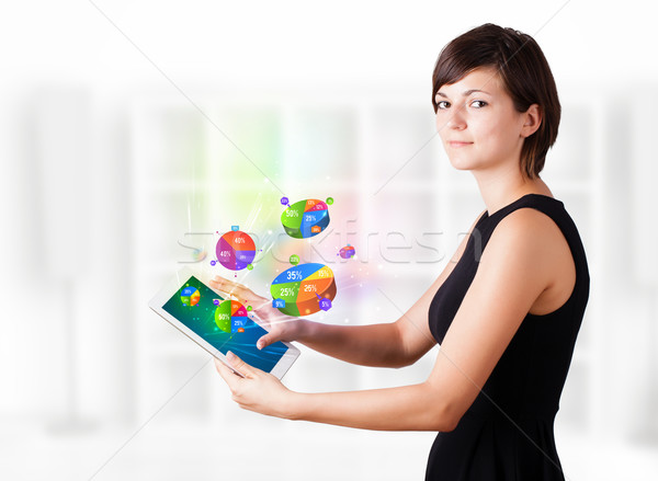 Mulher jovem olhando moderno comprimido torta gráficos Foto stock © ra2studio