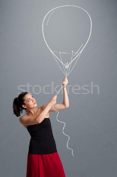 Bela mulher balão desenho belo mulher jovem Foto stock © ra2studio