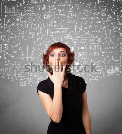 Stock photo: Young pretty lady with hand drawn calculations and icons