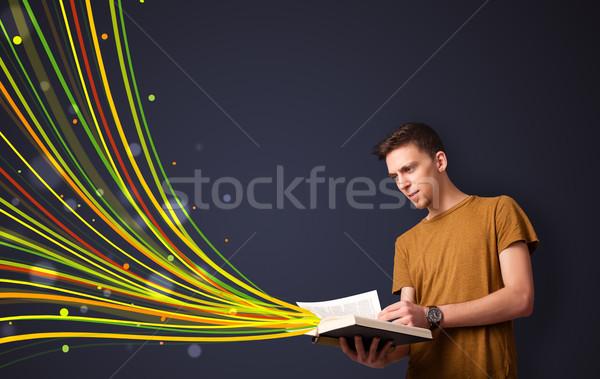 молодым человеком чтение книга красочный линия из Сток-фото © ra2studio