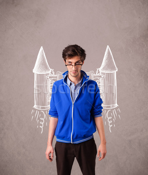 Cute man with jet pack rocket drawing illustration Stock photo © ra2studio